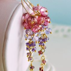Bridal Earrings Gemstone Pink Topaz Purple Amethyst Rhodolite Red Ruby Cluster Wedding Jewelry - Trailing Rose - Complimentary Shipping. $220.00, via Etsy.