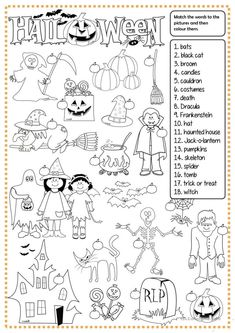 Halloween - matching worksheet - Free ESL printable worksheets made by teachers Maths Halloween, Halloween Vocabulary, Halloween Infantil, Halloween Worksheets, Halloween Words, Halloween Activities, Easy Halloween, Halloween Crafts, Halloween Party
