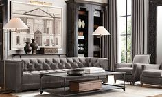 restoration hardware grey living room - Google Search