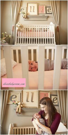 Amazing idea for putting your baby's name   above the crib. You can use different sized frames and put one to two letters in   each frame. Mix and match the colors if you can, but still making them all   within the same color pallet (i.e. soft, strong colors).