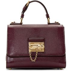 Dolce And Gabbana Burgundy Iguana Small Monica Bag (48 345 UAH) ❤ liked on Polyvore featuring bags, handbags, shoulder bags, leather shoulder bag, purse shoulder bag, leather purses, purple shoulder bag and embossed leather handbags