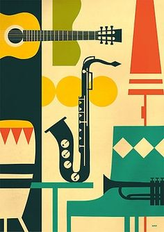 affiche vintage instruments de musique music vintage print