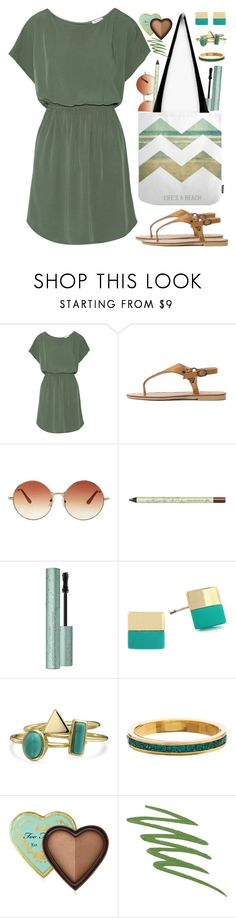 """""""Army green dress"""" by by-jwp ❤ liked on Polyvore featuring Splendid, Topshop, Pixi, Vince Camuto, Bling Jewelry, Too Faced Cosmetics, NARS Cosmetics, GREEN, dress and summerstyle"""