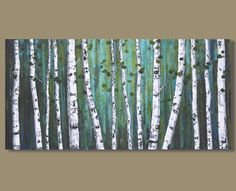 TITLE: Ghost Wood Grove    This is an original acrylic abstract painting hand painted by the artist.   DESCRIPTION:  This is a white birch
