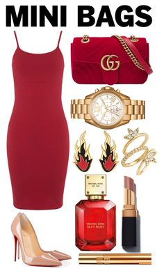 """""""Untitled #34"""" by kyliemg45 ❤ liked on Polyvore featuring Gucci, Miss Selfridge, Christian Louboutin, AMBUSH, Michael Kors, Luv Aj and Yves Saint Laurent"""