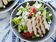 Greek Salad with Oregano Marinated Chicken Recipe | Dave Lieberman | Food Network