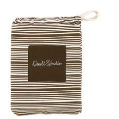 DwellStudio THIN STRIPE CHOCOLATE - FITTED CRIB SHEET