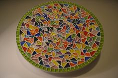 Green and multicolor mosaic plate by PippesGlasmozaiek on Etsy, €30.00