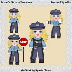 #Police Woman With Blonde Hair #Clipart