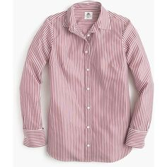 Thomas Mason For J.Crew Striped Boy Shirt ($210) ❤ liked on Polyvore featuring tops, pink button down shirt, cotton button down shirts, pink top, long sleeve button shirt and pink button up shirt