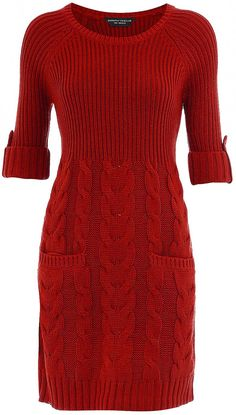 Dorothy Perkins – Red Rib and Cable Dress 2020 Knit Skirt, Knit Dress, Dress Skirt, Jumper Dress, Mode Crochet, Knit Crochet, Long Sweaters, Sweaters For Women, Knitwear Fashion