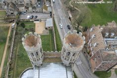 Looking down to the towers of the South West Transept of Ely Cathedral from The Great West Tower of Ely Cathedral.
