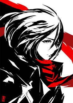 Red monochrome. Mikasa Ackerman by the-hary on DeviantArt. Mikasa Ackerman in Attack on Titan - Shingeki no Kyojin #AoT #SnK