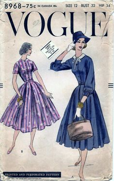 Vintage 1950s VOGUE DRESS Sewing Pattern by vintagepatternstore