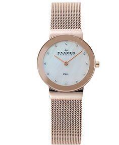 Skagen Denmark Watch, Women's Rose Gold Ion-Plated Stainless Steel Mesh Bracelet 26mm