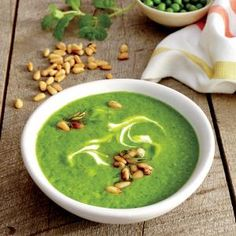 Sweet Pea Soup with Yogurt and Pine Nuts | CookingLight.com #myplate #veggies #dairy