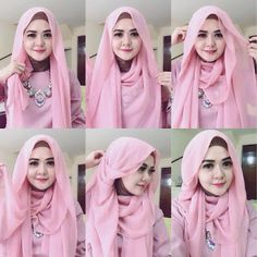Beautiful Pink Pin Back Hijab Tutorial - Hijab Fashion Inspiration Beautiful Pin Back hijab style for everyday use, you can wear this for school, work or even special Tutorial Hijab Pesta, Simple Hijab Tutorial, Hijab Style Tutorial, How To Wear Hijab, Turban Hijab, Stylish Hijab, Muslim Women Fashion, Hijab Fashion Inspiration, Hijabi Girl