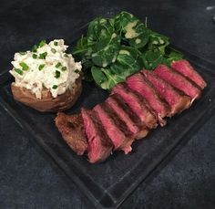 [Homemade] My friend made steak a twice baked potato and kale  spinach salad #food #foodporn #recipe #cooking #recipes #foodie #healthy #cook #health #yummy #delicious