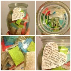 anniversary present. 200 quotes, lyrics, memories, and what not in a glitter painted jar. Great idea!