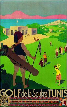 Vintage Travel Poster - Tunis - Golf de la Soukra Tunisia -  by Roger Broders (1883 - 1953).