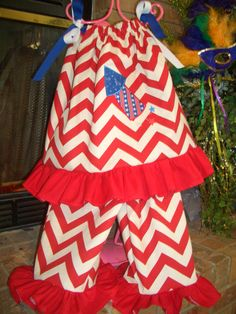 Pillowcase Outfit--applique with 4th of July Rocket--price includes one embroidered initial in the rocket--size 2T--sells for $50