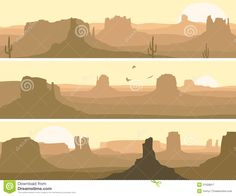 Vector horizontal banner: prairie wild west with cacti and birds of prey. Wild West, Desert Diorama, Fair Pictures, Short Film, Sunrise, Royalty Free Stock Photos, Banner, Clouds, Abstract
