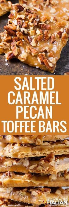 Salted Caramel Pecan Toffee Bars ~ quick homemade caramel sauce and pecans make this a tasty treat! Candy Recipes, Baking Recipes, Sweet Recipes, Cookie Recipes, Bar Recipes, Recipies, Köstliche Desserts, Delicious Desserts, Dessert Recipes