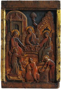 Old Testament Trinity (The Hospitality of Abraham). Wood, carving, tempera, silver. XVI century.