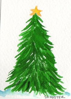Christmas Painting ACEO Original Watercolor by SharonFosterArt, $7.00