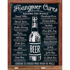 This witty tin sign features chalkboard inspired rolled edges and pre-drilled holes for safe and easy hanging. Its old school design looks great on any wall in the home or business; hang it in your man cave, kitchen, or bar, or give it as a gift. Cure your boring wall decor with this lithographed metal sign! Made in the USA. Measures: 12.5W x 16H inches.