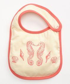 Girl's Seahorse Bib so cute you won't wanna take it off!  Made with Fair Trade Certified organic cotton!  #FairTrade #organic #apparel