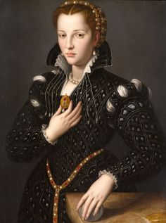 ▴ Artistic Accessories ▴ clothes, jewelry, hats in art - Alessandro Allori | Lucrezia de Medici, c. 1550s