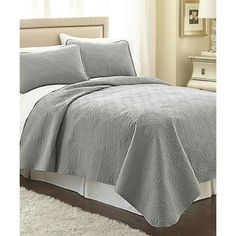 Southshore Fine Linens Steel Gray Vilano Springs Classic Quilt Set ❤ liked on Polyvore featuring home, bed & bath, bedding, quilts, linen bed set, linen bedding, springs bedding, linen bedding sets and bed linen