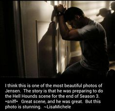 A behind the scenes picture of Jensen preparing for the scene in which the hell hound attacks Dean...