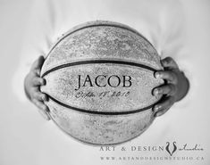 Thinking I can do something like this. Take a black and white pic of my son holding a basketball with vinyl letters. Love how this ball is weathered.