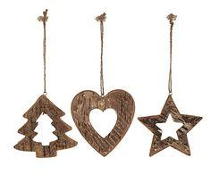 Set de 3 adornos para colgar en madera Orny - 10x12 cm