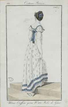 Costume Parisien ca 1803. Note the deep bodice back. Regency bodice backs are often no wider (from top to bottom) than about 3 inches. Also, contrary to many modern costumers' beliefs, the Regency dress rarely closed at the back center seam. Side closures were more common.  Note the braid made out of the hair taken from underneath the upswept hairpiece used to make the bun.