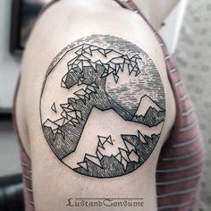 Geometric Hokusai Wave Tattoo by Phil Tworavens
