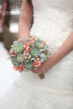 Succulent bouquet rustic bouquetbridal by ATouchofSucculents, $175.00