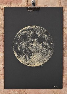 Full Moon screeprint - A4 - gold ink on black paper on Etsy, Sold
