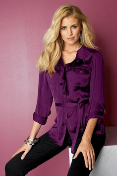 metrostyle ---- top and trouser ----Paige Ruffle Trim, Trousers, Ruffle Blouse, Purple, My Style, Ms, Shirts, Collection, Women