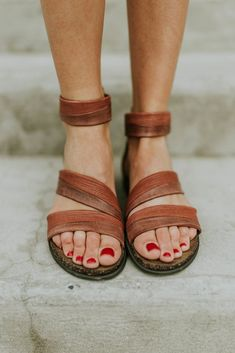 Cognac Leather Strappy Sandal | ROOLEE