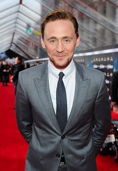 Tom Hiddleston.  Love how he always looks likes he's about to burst into laughter!