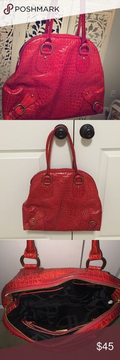 Red Banana Republic bag Red embossed leather with brass hardware Banana Republic Bags Satchels