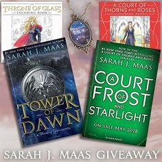 """Sarah J. Maas fans won't want to miss this epic giveaway! One lucky reader will win a pre-order of the upcoming A Court of Frost and Starlight, your choice of any one of her other books, the coloring books to go with both series, and a """"You could rattle the stars"""" necklace. Open worldwide (see rules for details)! This giveaway is sponsored by YA authors Rita Stradling (Colorless), A.J. Flowers (Fallen to Grace), Norma Hinkens (Girl of Blood), Dorothy Dreyer (Phoenix Descending), and"""