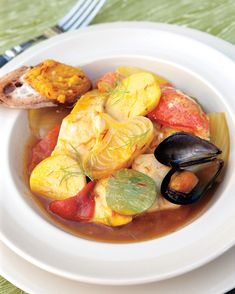 This recipe for bouillabaisse calls for lobster to make the broth of this hearty seafood stew. Lobster Recipes, Seafood Recipes, Shellfish Recipes, Chowder Recipes, Entree Recipes, Chili Recipes, Egg Recipes, Diet Recipes, Vegetarian Recipes