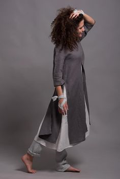 Linen Undredress UNA for Lagenlook style, Soft Washed Linen Summer Dress, Oversize Loose fitting Night Dress, Lightweight White Linen Dress Renaissance Clothing, Steampunk Clothing, Gypsy Clothing, Loose Fit, Linen Tunic Dress, White Linen Dresses, New Shape, Layered Look, Look Fashion