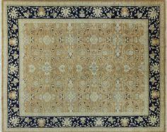 Beige/Navy Peshawar Hand Knotted Oriental Wool Rug