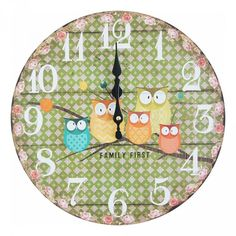 Family of Owls Green Wall Clock Green Wall Clocks, Raksha Bandhan Gifts, Rakhi Gifts, Wall Clock Online, Online Gifts, Kids Rugs, Owls, Stuff To Buy, Kid Friendly Rugs