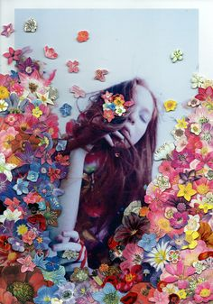 Photographer Rebekah Campbell collaborated with artist Ben Giles to create collages combining Ben's color-bursting flowers over Rebekah's #photography. #art #flowers #floral #collage #collaboration